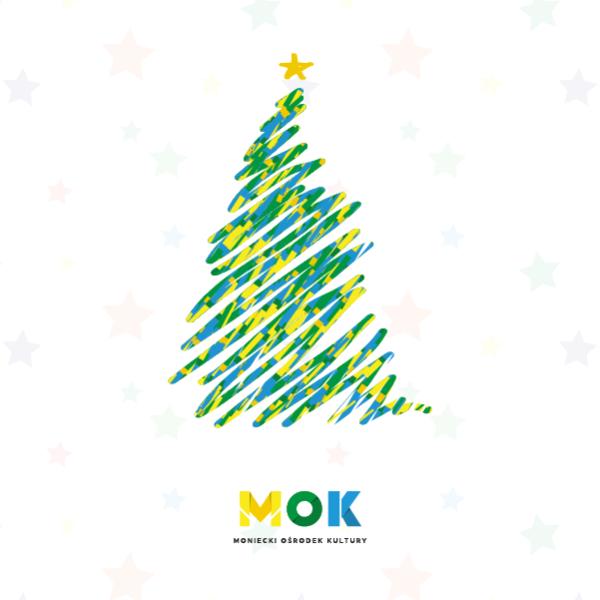 Miniaturka news. Malowana choinka w kolorach zielono, żółto, niebieskim z logo MOK.