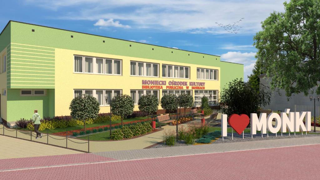 Budynek MOK na wizualizacji zagospodarowania terenu wokół ośrodka.