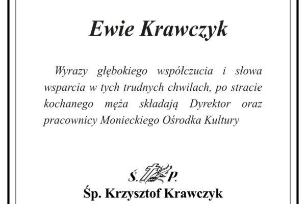 Grafika z kondolencjami Ewie Krawczyk z powodu śmierci męża.