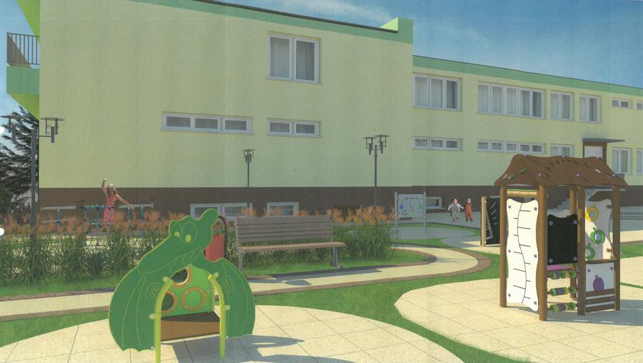 Wizualizacja zagospodarowania terenu od tylnej strony Monieckiego Ośrodka Kultury po rewitalizacji.
